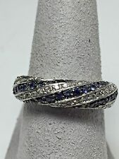 Iolite and CZ Band in Sterling Silver - Stamped 925 - Size 7.25 Domed pave