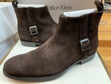 Men's Calvin Klein Ferris Dark Brown Suede side Zip On  Boots F4166 Brown