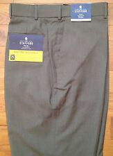 NWT Stafford Travel Classic Fit FLAT Front BRITISH KHAKI Dress Pants 44 x 30