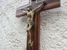 Holz Wandkreuz mit Messing Einlagen um 1930 Kreuz Haus Altar Depose Kruzifix