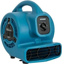 P 80a Mini Mighty Air Mover Utility Fan With Built In Power Outlets Blue