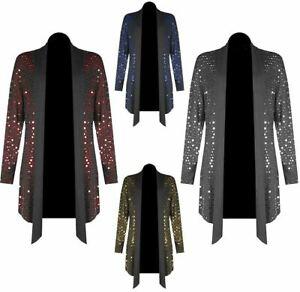 New Ladies Long Sleeve Sequin Waterfall Women Polka Dot Open Cardigan