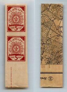 Latvia 🇱🇻 1918 SC 1 MNH pair map. rtb7056