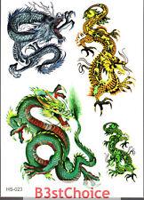 UK Multicolored dragon circling Kid Party crystal shiny Glitter Temporary Tattoo