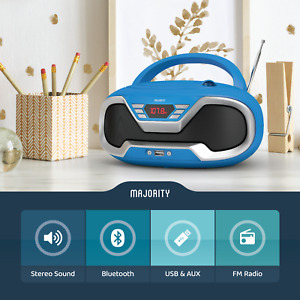 Portable CD Player Boombox with Bluetooth & FM Radio, 3.5mm AUX headphone jack