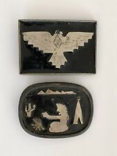 Vintage Black And Silver Tone Western Native American Style Belt Buckles