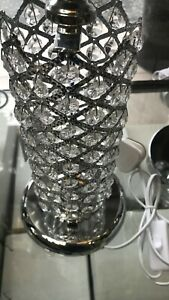 Thin metallic frame crystallic table lamp with incorporated LED [HSC01]
