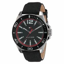 NEW TOMMY HILFIGER SILVER+BLACK TONE,BLACK CANVAS+LEATHER BAND WATCH # 1791284