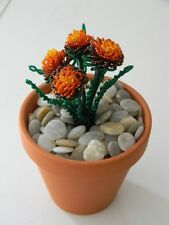 French beaded flowers potted Marigold plant with pot