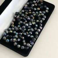 Vintage Necklace Black Faceted Glass Beads Irridescent