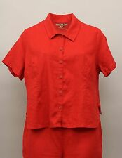 FLAX BOLD SUMMER LINEN COLLARED BUTTON SHIRT BLOUSE CHERRY RED PLUS SIZE 1G 1X