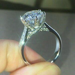3 Ct VVS1 Round Cut Diamond Engagement Wedding Ring 14k White Gold Over Size J-T