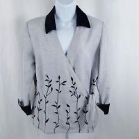 Selene Sport Womens Size Medium Silver Black Vine 3/4 Sleeve Wrap Blouse V Neck
