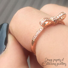 BOW RING Rose Gold PL 925 Solid Sterling Silver Stacking Band Size 7 / 54