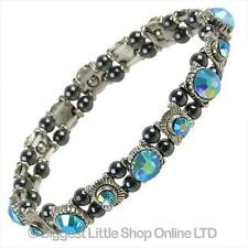 Ladies Magnetic Hematite Crystals Pearlescent Aqua Bracelet Pretty Free Gift Box