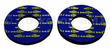 GT race wings old school BMX bicycle grip foam donuts YELLOW on BLUE (LICENSED)