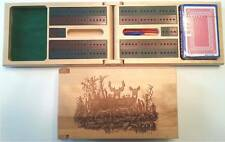 Deer Scene Cribbage Board Travel Set - Animal, Wildlife