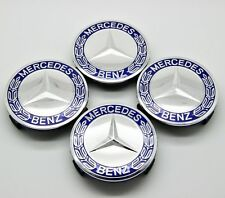 4x 75mm Wheel Center Caps for Mercedes-Benz W203 W204 W124 W211 W212 W221 - Blue