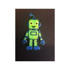 Funky Green Robot Iron On Craft Motif Stylish Patch