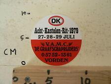 STICKER,DECAL ACHT KASTELEN RIT 1979 VAMC DE GRAAFSCHAPRIJDERS VORDEN AUTO OK