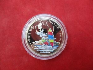 Solomon Islands 1 Dollar From 2000 OLYMPIA Sydney Kangaroo Surfing Pf Proof