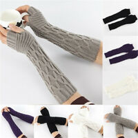 New Useful Winter Long Knitted Gloves Thick Warm Finger less Mittens Arm Warmers