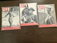Lot Of Three Vintage Life Magazines 1939, 1941 & 1941 all In Plastic Sleeves.