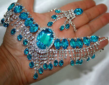 Aqua Blue Rhinestone Austrian Crystal Choker Necklace Earring Set Pageant Bridal