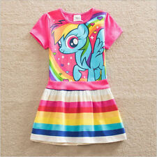 2017 Girls My Little Pony Rainbow Dress Kids Summer Party Clothes Age 3-8 Yrs
