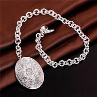 ASAMO Damen Armband mit Medaillon Anhänger oval 925 Sterling Silber plattiert