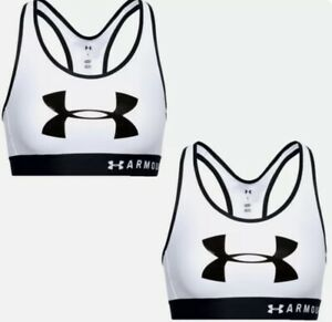 NWT Under Armour Womens White Mid Support Keyhole Crossback Sports Bra Med $30