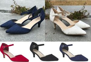 New Ladies Low Kitten Heel Lace Embellished Ankle Strap Bridal Evening Shoes 3-8