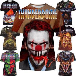 Thunderdome logo Bat Clown 3D womens/mens Short Sleeve T-Shirt Casual Top Tee