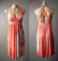 Peach Pastel Tie-Dye Empire Waist Beach 70s Festival Hippie Sun 223 mv Dress M