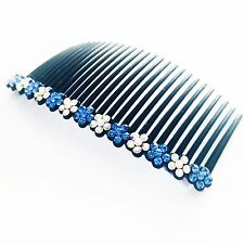 USA Hair Comb Rhinestone Crystal Hairpin French Twist Party Dancer Flower Blue 2