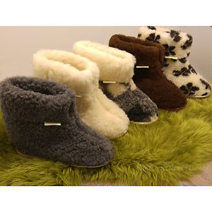 Hard Sole Natural Sheep Wool Boots Cozy Foot Slippers Sheepskin Womens Ladies