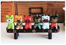 Set of 6 Decorative Multi-colored Wooden Cat Figurine Statue Sculpture Handmade