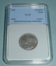 1936 Canada .25 Twenty Five Cent Graded AU55