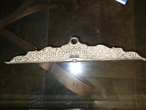 Vintage Brass 2 Sided Topper The Stimpson Computing Scale Co. Detroit MI