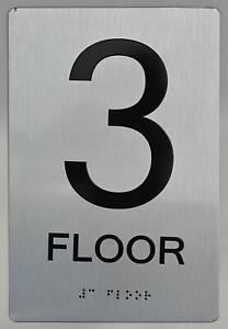 3rd Floor SIGN -(Aluminium, Brush Silver,size 6x9) The sensation line