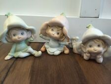 Homco Set of 3 Vintage Pixies, Elf, Garden Gnome Figurines