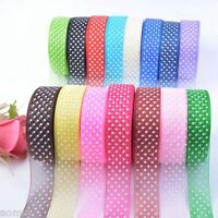 25Yards 25mm Dot Satin Edge Sheer Organza Ribbon Bow Craft Wedding Free DIY