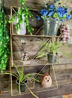 Large 76cm Gold Wall Shelf Metal Bookcase Planter Pot Ornament Display Shelving
