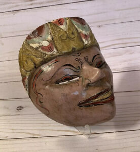 vtg Wood Mask Hand Carved Balinese Or Mexican ? Folk Art Woman Big Smile Happy