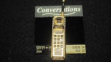Vintage Brooch Pin SIGNED SWAROVSKI Cell Phone Clear Crystal  Goldtone ON CARD