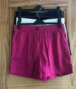 EX NEXT BRAND NEW Navy Blue White Pink Drawstring Linen Blend Shorts Size 8 - 16