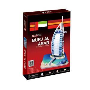 World's Great Architecture Burj Al Arab 44 Piece 3D Model DIY Hobby Build Kit
