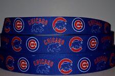 "1 yd 7/8"" SPORT Grosgrain Ribbon CHICAGO CUBS BLUE MULTI LOGO BASEBALL PRINTED."