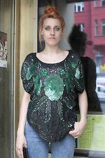 Damen Pailletten Shirt Top schwarz grün 40 black 80er True VINTAGE 80s women