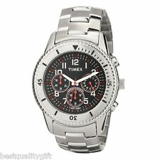 NEW TIMEX SILVER TONE S/STEEL CHRONOGRAPH BLACK DIAL MENS WATCH-T2N159